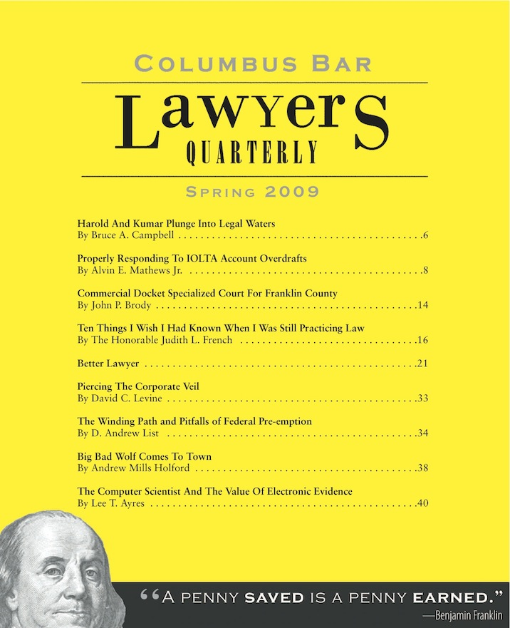 Columbus Bar Lawyers Quarterly (2009 - Spring)