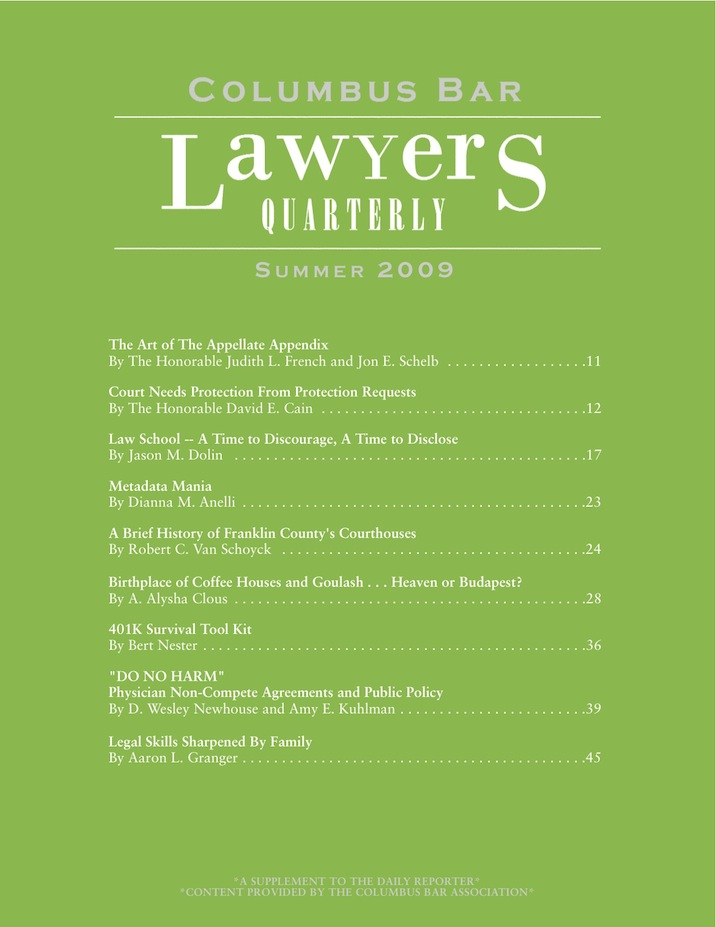Columbus Bar Lawyers Quarterly (2009 - Summer)