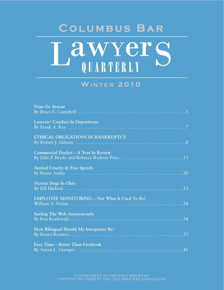 Columbus Bar Lawyers Quarterly (2010 - Winter)