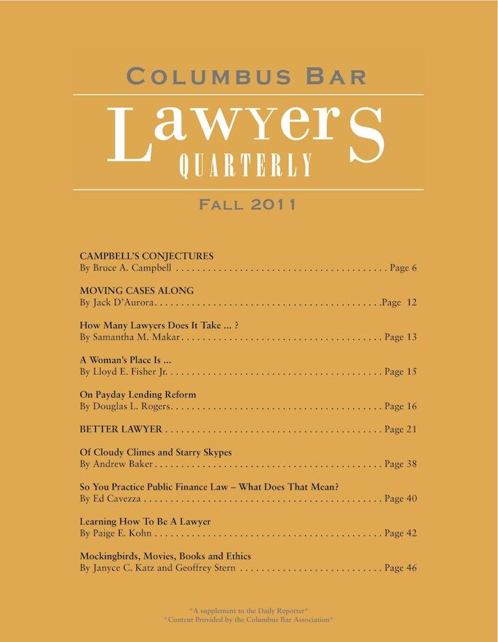 Columbus Bar Lawyers Quarterly (2011 - Fall)