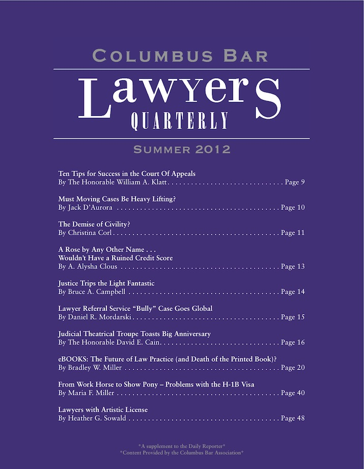 Columbus Bar Lawyers Quarterly (2012 - Summer)